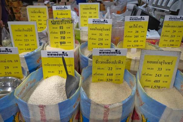 Prices of different types of rice offered for sale are displayed at a market in central Bangkok, July 26, 2013 REUTERS/Athit Perawongmetha