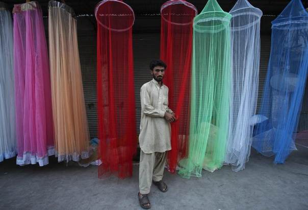A man displays mosquito nets for sale while waiting for customers along a roadside in Peshawar, Pakistan, May 3, 2012. REUTERS/Fayaz Aziz