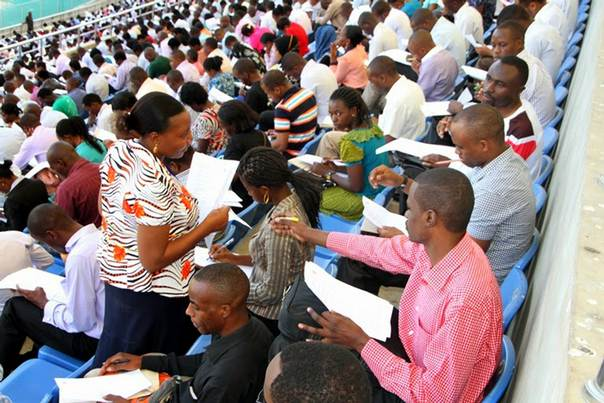 Thousands of prospective job seekers turned up for job interviews with the Tanzania's immigration services in June this year. Photo by Richard Mwaikenda