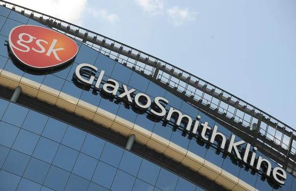 In this 2008 file photo, signage is pictured on the company headquarters of GlaxoSmithKline in west London REUTERS/Toby Melville