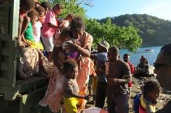 Residents prepare to evacuate due to the Manaro Voui volcano continuing to emenate smoke on Vanuatu