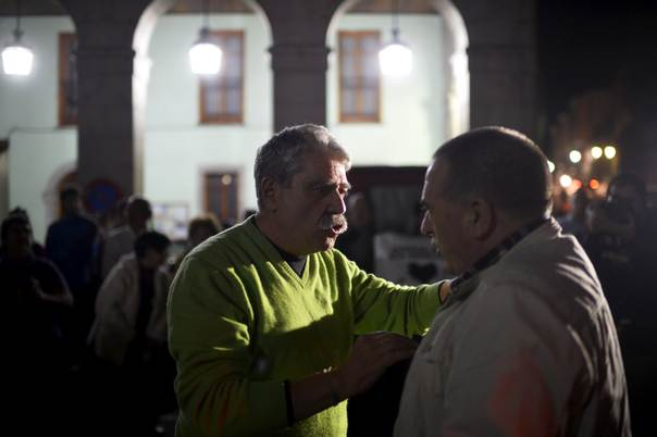 Former director of basque nationalist newspaper egin jabier salutregi is greeted by nationalist politician karmelo landa following his release from prison after serving seven years of a twelve year sentence in m4hsunfo