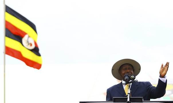 Uganda's President Yoweri Museveni speaks at a thanksgiving prayer held on his behalf by different religious groups backing the signing of the anti-gay bill into law, in Uganda's capital Kampala March 31, 2014. REUTERS/Edward Echwalu