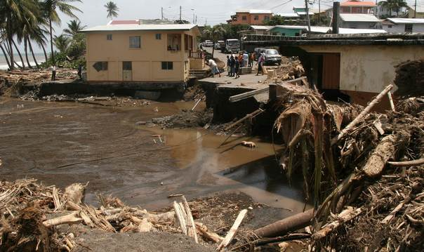 Damage in the St. Vincent and the Grenadines town of Georgetown, following the Christmas Eve 2013 storm. THOMSON REUTERS FOUNDATION/Alison Kentish