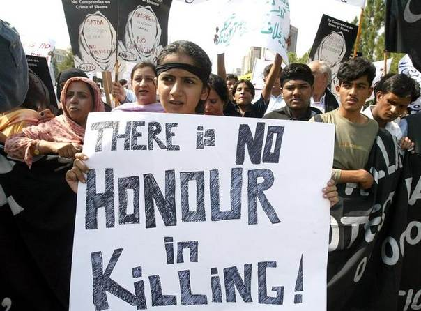This Oct. 8, 2004 file photo shows Pakistanis protesting against honour killings during a demonstration in the capital Islamabad October 8, 2004. REUTERS/Mian Khursheed