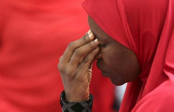 A woman takes part in a protest for the release of the abducted secondary school girls in the remote village of Chibok, during a sit-in protest at the Unity fountain Abuja, Nigeria, May 12, 2014.  REUTERS/Afolabi Sotunde