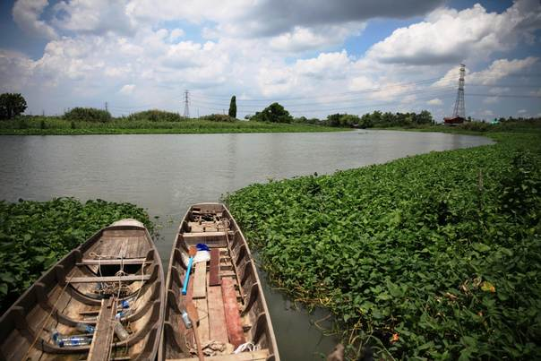 Boats on the Tha Chin River in the central Thai province of Nakhon Pathom, where local people are working on their own flood management plan and finding innovative ways to use water hyacinth, a weed that is blocking water courses. TRF/Thin Lei Win