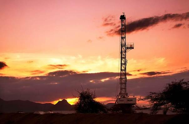 An oil rig used in drilling at the Ngamia-1 well on Block 10BB, in the Lokichar basin, which is part of the East African Rift System, is seen in Turkana County, in this undated handout photograph REUTERS/Tullow Oil plc/Handout