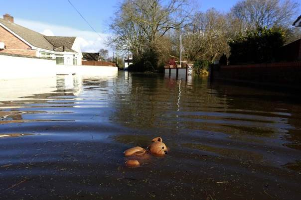 A teddy bear floats in the flooded main street of the Somerset village of Moorland, Feb. 13, 2014. REUTERS/Cathal McNaughton