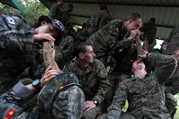 U S  Marines drink water from vines during a jungle survival