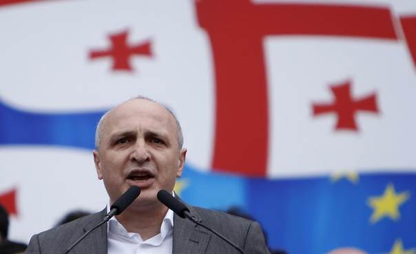 In this 2013 file photo, Vano Merabishvili, leader of opposition United National Movement party, addresses people during a rally in Tbilisi REUTERS/David Mdzinarishvili