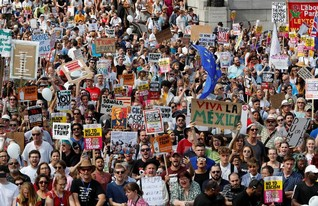 London protesters unite against Trump for women's rights, climate and refugees