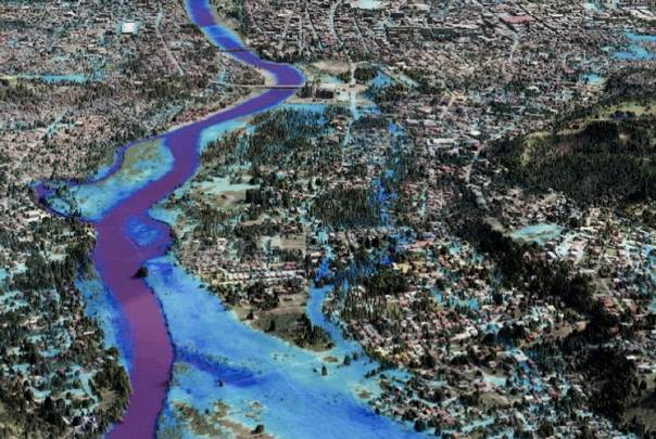 A view of a 3D flood hazard map of Cagayan de Oro, one of the most disaster-prone cities in the Philippines.