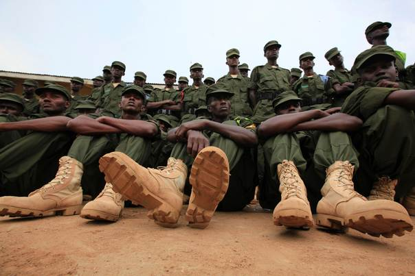 Somali government soldiers, dressed in Uganda People's