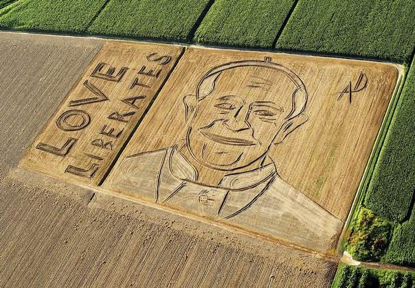 An aerial view of the image of Pope Francis by Italian artist Dario Gambarin is seen in a threshed wheat field in Castagnaro, near Verona, released on Sept. 3, 2013. Gambarin used a tractor with a plow and a harrow to create the image on a 25,000 square meter field. REUTERS/Stringer
