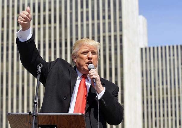 Businessman Donald Trump speaks during a pro-gun rally in Albany, New York, April 1, 2014. REUTERS/Hans Pennink