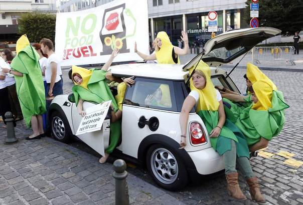 Activists dressed as giant corns sit in a car as they stage a protest against food being used as biofuel in front of the European Parliament in Brussels, Sept. 4, 2013. REUTERS/Francois Lenoir
