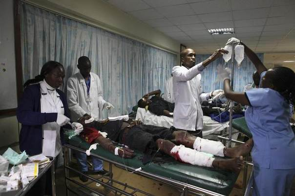 Medical staff at Kenyatta National Hospital in Nairobi attend to the victim of an explosion October 24, 2011. REUTERS/Noor Khamis