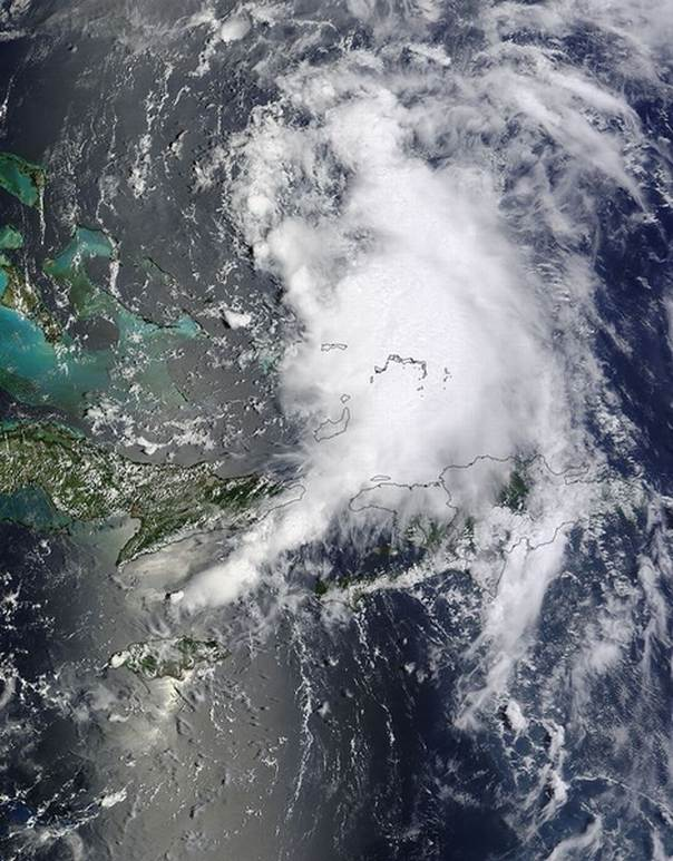 Tropical Storm Cristobal is pictured near Turks and Caicos Islands in this August 24, 2014 NASA handout satellite image. REUTERS/NASA/Handout via Reuters
