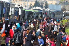 People evacuated from villages in Aleppo Province, Syria