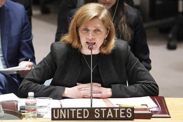 Samantha Power, permanent representative of the United States to the U.N., speaks after voting on resolution on humanitarian aid for Syria at U.N. headquarters in New York, February 22, 2014 REUTERS/Eduardo Munoz