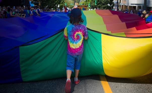 A boy holds a large rainbow tarp while taking part in Vancouver's 35th annual Pride Parade in Vancouver, British Columbia August 4, 2013. REUTERS/Ben Nelms