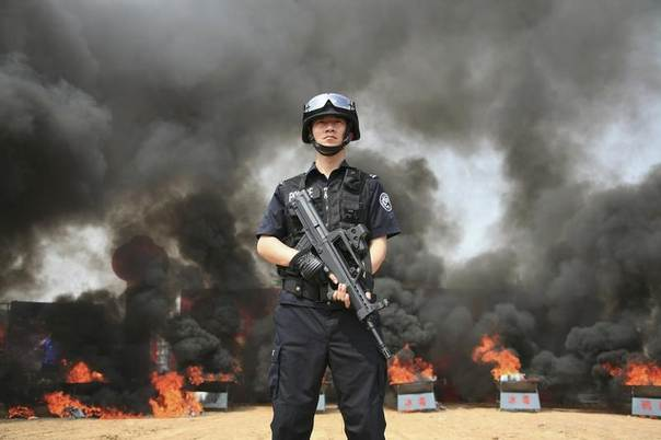 A policeman guards while confiscated drugs are burned during a campaign on the International Day against Drug Abuse and Illicit Trafficking in Shenyang, Liaoning province June 26, 2010. REUTERS/China Daily