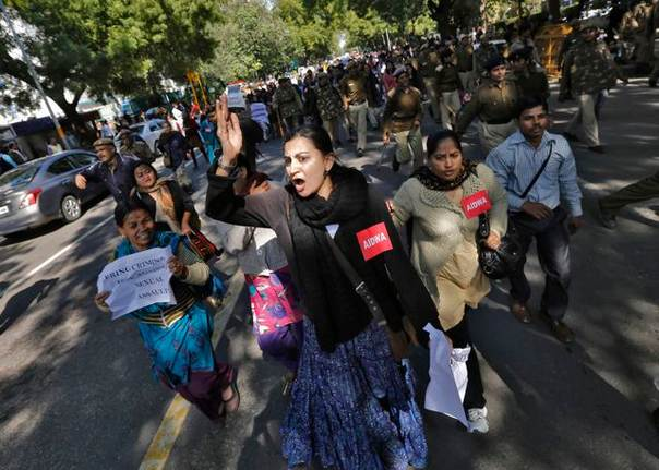 Demonstrators shout slogans in New Delhi, on Feb. 7, 2013, during a protest to demand harsher punishments and quicker trials for rape cases. REUTERS/Adnan Abidi