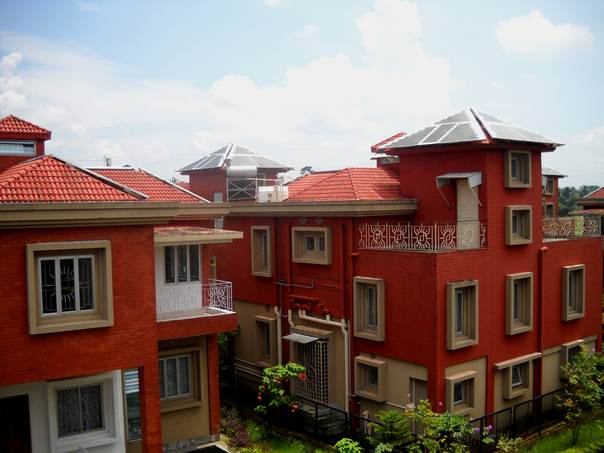 A view of Rabi Rashmi Abasan, India's first solar-powered home complex in New Town, Kolkata, in India's West Bengal state. THOMSON REUTERS FOUNDATION/Manipadma Jena