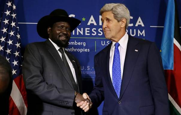 South Sudan's President Salva Kiir (L) shakes hands with U.S. Secretary of State John Kerry as they hold a bilateral meeting at the U.S.-Africa Business Forum in Washington August 5, 2014. REUTERS/Jim Bourg