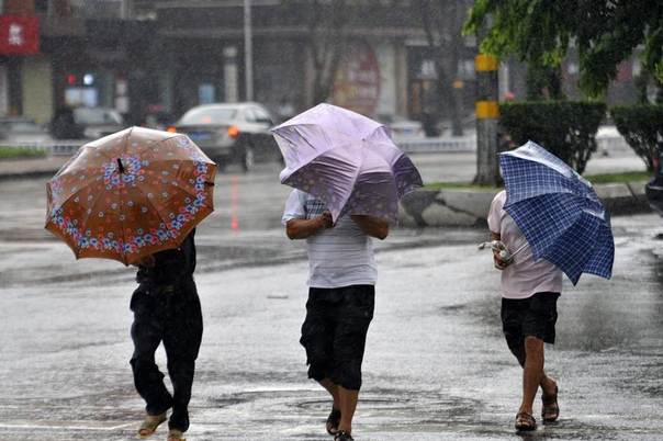 People hold umbrellas as they walk against rain in Qionghai, Hainan province, China, July 18, 2014. REUTERS/China Daily