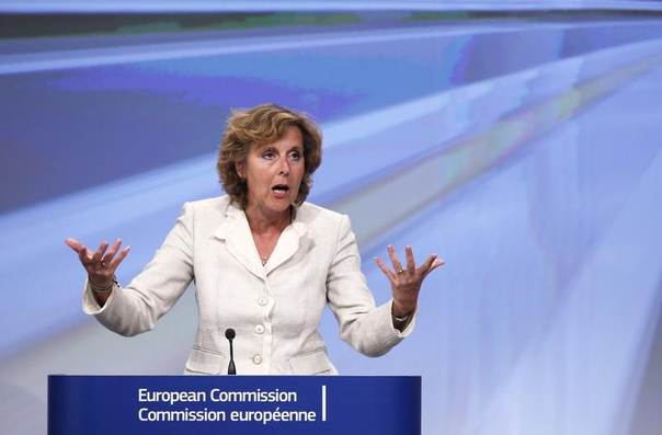 European Climate Action Commissioner Connie Hedegaard addresses a news conference at the EU Commission headquarters in Brussels, July 11, 2012. REUTERS/Francois Lenoir