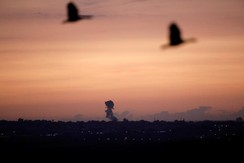 Smoke rises at the Gaza Strip following an Israeli strike, as seen from the Israeli side of the border