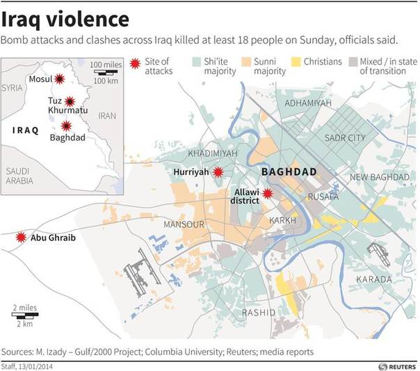 Map of Iraq locating recent bomb blasts over the weekend.