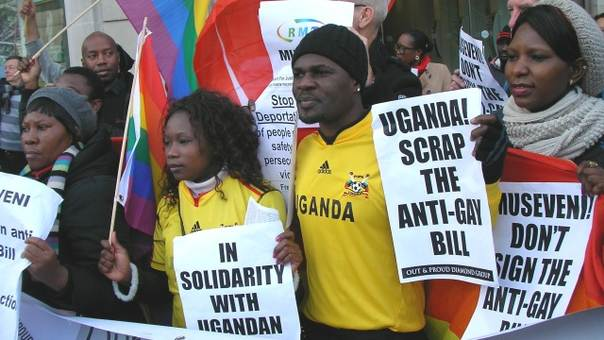A UK demonstration against severe anti-homosexuality laws in Uganda, where World Vision also operate. Photo by the Peter Tatchell Foundation.