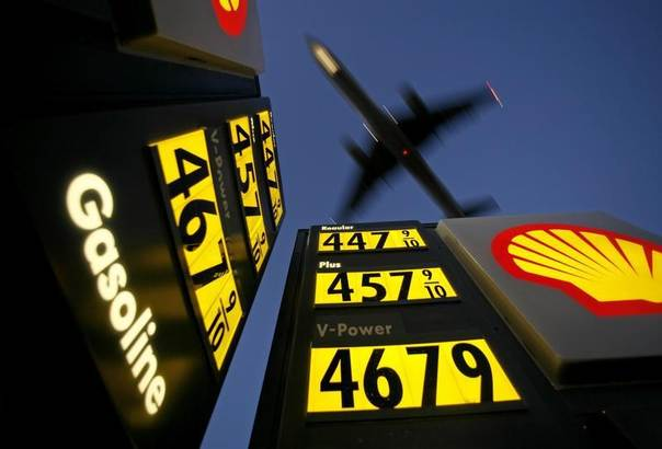 Gasoline prices are advertised at a gas station near Lindbergh Field as a plane approaches to land in San Diego, California in this 2008 photo. REUTERS/Mike Blake