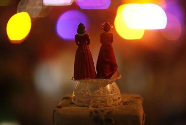 Two bride figurines are seen during a rally in response to the California Supreme Court's ruling regarding Proposition 8 in Hollywood, California, U.S., May 26, 2009. REUTERS/Mario Anzuoni