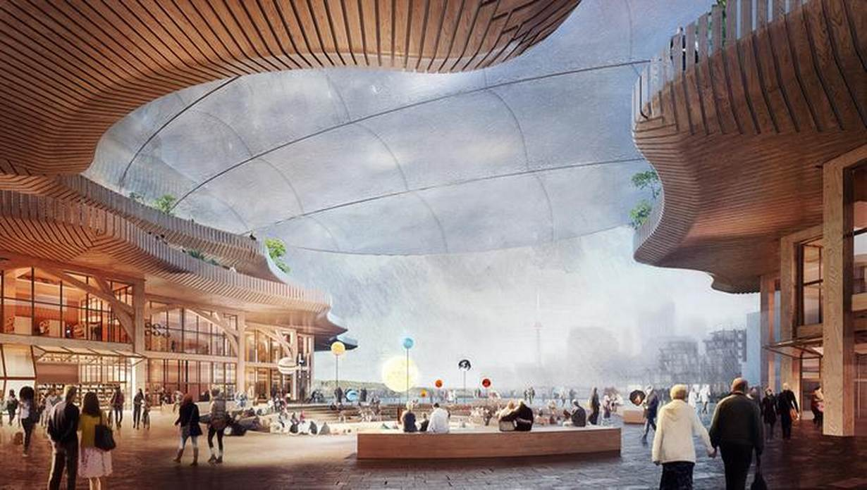 A campus, part of a proposed redevelopment of Toronto's downtown waterfront, is seen in an undated artist rendering provided by Alphabet Inc's Sidewalk Labs unit February 15, 2019. Sidewalk Labs/Picture Plane Ltd/Handout via REUTERS 'PERMANENT SURVEILLANCE'