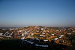 Temporary shelters cover a hill at Palongkhali refugee camp, near Cox's Bazar