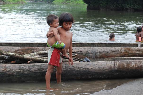 Embera boys at an indigenous reserve along Colombia's Pacific Coast near the border with Panama, in March 2009. Thomson Reuters Foundation/Anastasia Moloney