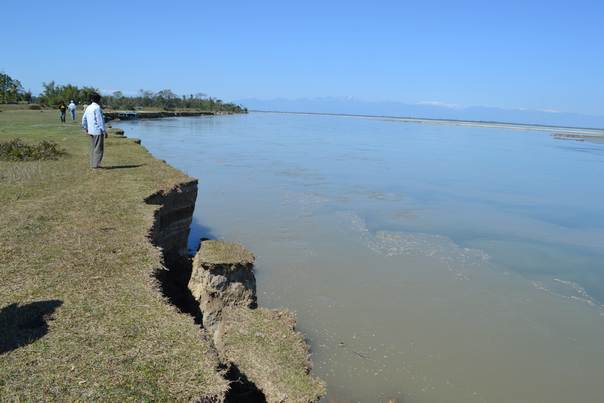 Eroded land in the Rohmoria area of Dibrugarh district in India's state of Assam. Over the last 15 years, erosion by the Brahmaputra river has destroyed 38 villages in the region. THOMSON REUTERS FOUNDATION/Rohan Singh