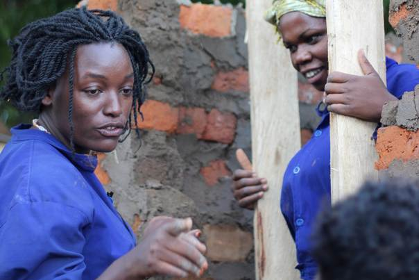 Godliver Businge during construction training in Uganda. Photo: Global Women's Water Initiative