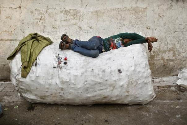 A rag picker takes a nap on a sack filled with used plastic bottles, at the side of a road in New Delhi, India, December 8, 2013. REUTERS/Anindito Mukherjee