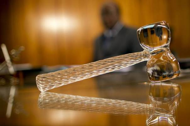In this 2012 file photo, a glass gavel is seen in the office of judge Joaquim Barbosa during an interview with Reuters at the Supreme Court building in Brasilia REUTERS / Ueslei Marcelino