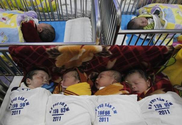 Newborn babies lie on trolleys at the Central Obstetrics Hospital in Hanoi October 27, 2011. REUTERS/Kham