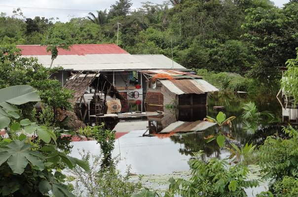 A house flooded by heavy downpours that inundated parts of Suriname earlier this year. TRF/Marvin Hokstam
