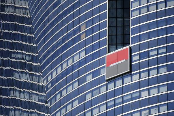 The logo of French bank Societe Generale is seen on a building in the financial district of La Defense near Paris August 1, 2013 REUTERS/Benoit Tessier