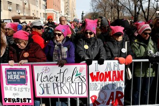 As Trump begins second year, women stage nationwide protests