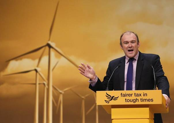 Britain's Secretary of State for Energy and Climate Change Ed Davey speaks during the Liberal Democrats annual conference in Brighton, southern England, Sept. 23, 2012. REUTERS/Luke MacGregor