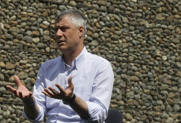 Kosovo Prime Minister Hashim Thaci speaks during an interview with Reuters in Gjakova June 2, 2014. Thaci's